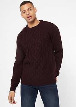 Burgundy Cable Knit Crew Neck Sweater