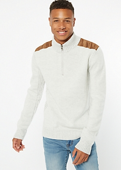 Oatmeal Heather Shoulder Patch Zip Sweater
