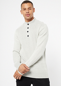 White Marled Button Front Mock Neck Sweater