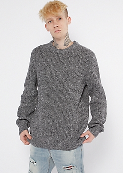 Charcoal Gray Crewneck Knit Sweater