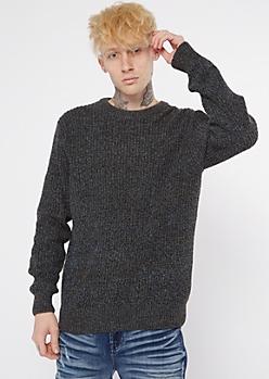 Marled Blue Crewneck Knit Sweater