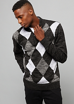 Black Half Zip Argyle Sweater