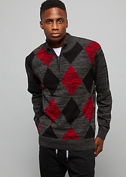 Red Half Zip Argyle Sweater