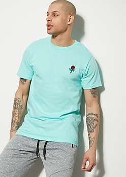 Mint Rose Embroidered Graphic Tee
