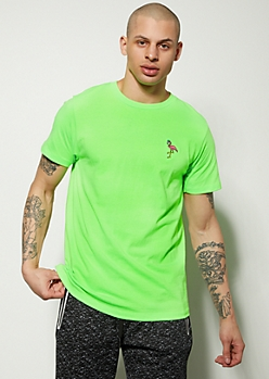 Green Flamingo Embroidered Graphic Tee