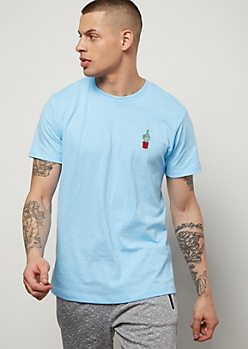 Light Blue Cactus Embroidered Graphic Tee