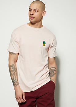Pink Pineapple Embroidered Graphic Tee