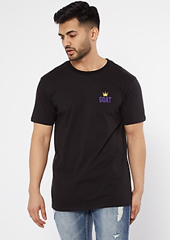 Black Crown Goat Embroidered Tee