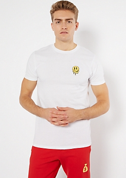White Melted Smiley Patch Embroidered Tee