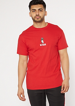 Red Blessed Praying Hands Embroidered Tee
