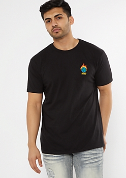 Black Flaming 2020 Embroidered Tee