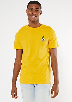 Yellow Skull Rose Embroidered Tee