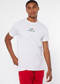 White Anti Social Embroidered Tee