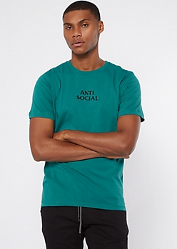 Teal Anti Social Embroidered Tee