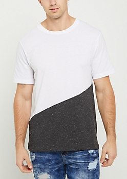 Black Marled Diagonal Colorblock Tee