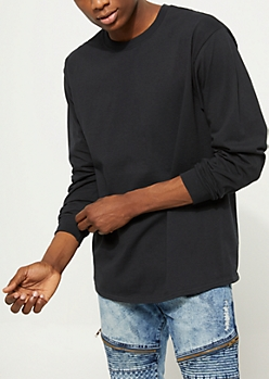 Black Long Sleeve Knit Crewneck Tee