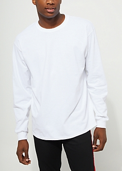 White Long Sleeve Knit Crewneck Tee