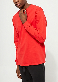 Red Long Sleeve Knit Crewneck Tee
