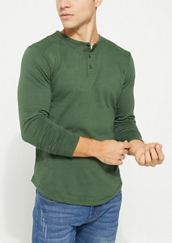 Green Heathered Long Sleeve Henley Tee