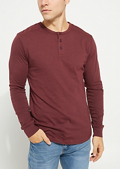 Red Heathered Long Sleeve Henley Tee