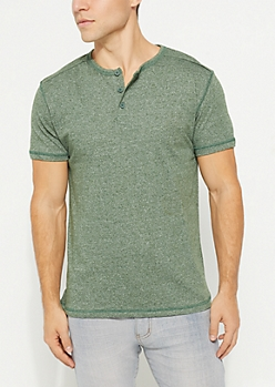 Green Heathered Short Sleeve Henley Tee