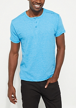 Blue Heathered Short Sleeve Henley Tee
