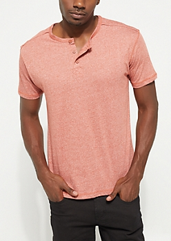 Light Red Heathered Short Sleeve Henley Tee