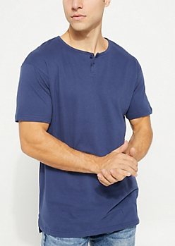 Navy Short Sleeve Henley Tee