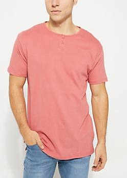 Red Short Sleeve Henley Tee