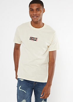 Sand Embroidered Cherry Blossom Drip Tee