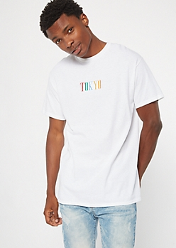 White Rainbow Tokyo Embroidered Tee