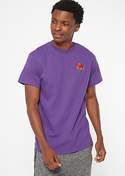 Dark Purple Rose Embroidered Tee