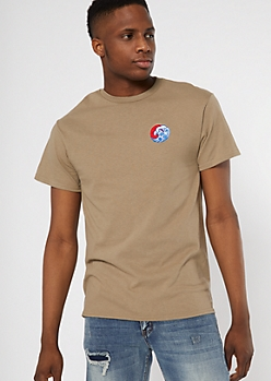 Khaki Circle Wave Embroidered Tee