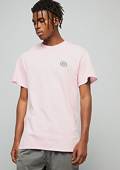 Pink Donut Embroidered Crew Neck Tee