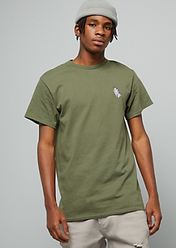 Green Praying Hands Embroidered Crew Neck Tee