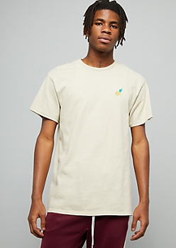 Sand Pineapple Embroidered Crew Neck Tee