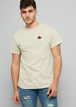 Sand Rose Embroidered Crew Neck Tee