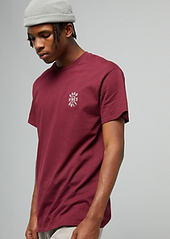 Burgundy Good Vibes Embroidered Crew Neck Graphic Tee