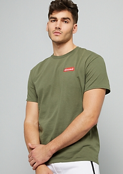 Green Blessed Embroidered Crew Neck Tee