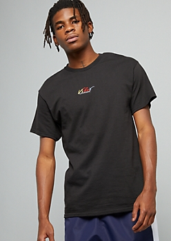 Black Embroidered Vibes Crew Neck Tee