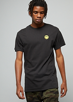Black Smiley Face Embroidered Crew Neck Tee