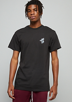 Black Moon Man Embroidered Crew Neck Tee