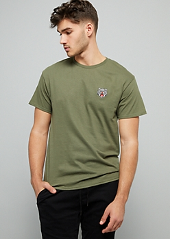 Green Tiger Embroidered Crew Neck Tee
