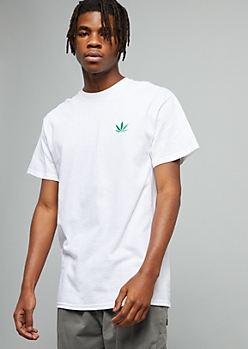 White Weed Leaf Embroidered Crew Neck Tee