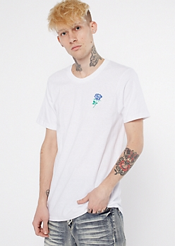 White Short Sleeve Rose Embroidered Tee