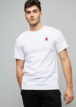 White Embroidered Party Cup Crew Neck Tee