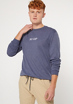 Blue No Cap Long Sleeve Embroidered Tee