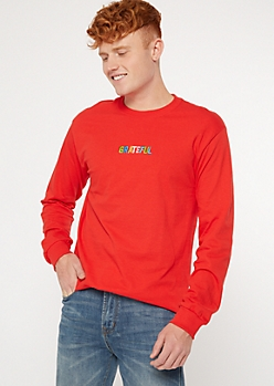 Red Grateful Long Sleeve Embroidered Tee