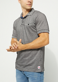 Black Marled Single Pocket Polo