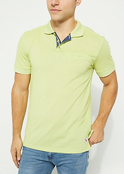Green Marled Single Pocket Polo